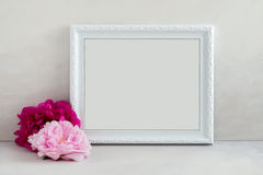 Floral mockup styled stock photography with white frame Royalty Free Stock Photos
