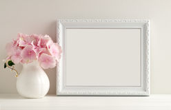 Floral mockup styled stock photography with white frame Royalty Free Stock Photography
