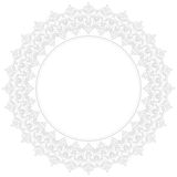 Floral Modern Frame. Oriental abstract round frame with arabesques and floral gray elements. Fine greeting card Stock Photography