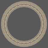 Floral Modern Frame. Oriental abstract round golden frame with arabesques and floral elements. Fine greeting card Stock Images