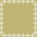 Floral Modern Frame. Oriental abstract square frame with arabesques and floral elements. Fine greeting golden and white card Royalty Free Stock Photo