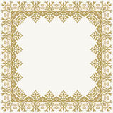 Floral Modern Frame. Oriental abstract square golden frame with arabesques and floral elements. Fine greeting card Royalty Free Stock Photography