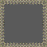 Floral Modern Frame. Oriental abstract square golden frame with golden arabesques and floral elements. Fine greeting card Royalty Free Stock Image