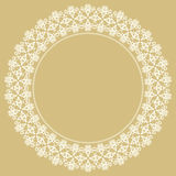 Floral Modern Round Frame. Oriental round frame with arabesques and floral elements. Floral fine white border. Greeting card with place for text Royalty Free Stock Photography