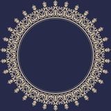 Floral Modern Vector Round Frame. Oriental vector round golden frame with arabesques and floral elements. Floral border with vintage pattern. Greeting card with Royalty Free Stock Photos