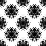 Floral monochrome background. Seamless black and white pattern. Vector illustration Royalty Free Stock Photography