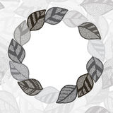 Floral monochrome round frame with abstract  leaves. Flower back Royalty Free Stock Photos
