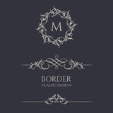 Floral monograms and borders. Royalty Free Stock Image