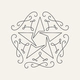Floral monograms design template with star, vintage lineart logo Stock Photos