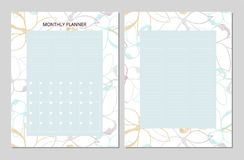 Floral Monthly Planner. Universal Monthly Planner. Printable Template. Vector. Floral background in pastel soft colors. Outline doodle flowers Royalty Free Stock Photo