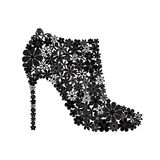 Floral mosaic black ankle boot Royalty Free Stock Photo