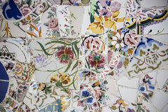 Floral Mosaic. At Park Guell, Barcelona, Spain Royalty Free Stock Photography