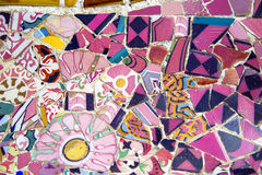 Floral mosaic in Park Guell, Barcelona, Spain royalty free stock images