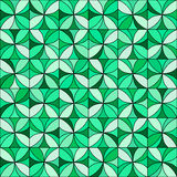 Floral Mosaic Pattern. Abstract floral mosaic background. Stylized flowers randomly colored in shades of green with black outline. Seamless repeat Stock Photos