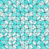 Floral Mosaic Pattern. Abstract floral mosaic background. Stylized flowers randomly colored in shades of light blue with black outline. Seamless repeat Stock Image
