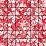 Floral Mosaic Pattern. Abstract floral mosaic background. Stylized flowers randomly colored in shades of red with black outline. Seamless repeat Royalty Free Stock Photo