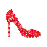 Floral mosaic red shoe Royalty Free Stock Image