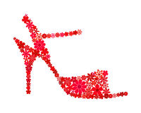 Floral mosaic red tango shoe Royalty Free Stock Photo