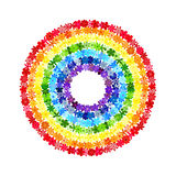 Floral mosaic round rainbow. Rainbow circle consisting of colourful flowers. Vector creative concept vector illustration