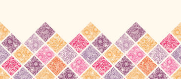 Floral mosaic tiles horizontal seamless pattern Royalty Free Stock Photo