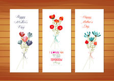 Floral Mother's Day Cards. Happy mother day with elements card and background for design Stock Photography