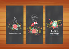 Floral Mother's Day Cards. Happy mother day with elements card and background for design Stock Images