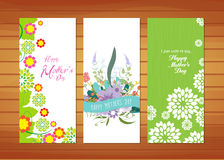 Floral Mother's Day Cards. Happy mother day with elements card and background for design Stock Photos