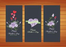 Floral Mother's Day Cards. Happy mother day with elements card and background for design Royalty Free Stock Photo