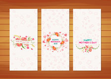 Floral Mother's Day Cards. Happy mother day with elements card and background for design Royalty Free Stock Image