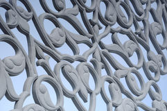 Floral motif carving pattern made from GRC at building exterior Royalty Free Stock Photography