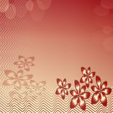 Floral motif with circles on red and beige gradient area Royalty Free Stock Photos