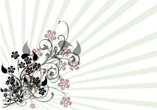 Floral motif on stripes. An illustration of a floral motif with vines and leaves laid over a striped background vector Royalty Free Stock Image