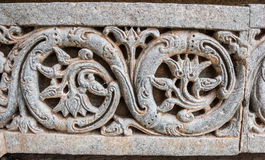 Floral Motiff. A floral motif on the wall at the 13th Century temple of Somanathapur, Karnataka, South India Stock Photography