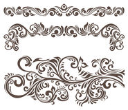 Floral motifs. Hand-drawn curly floral elements and letterhead Stock Photo