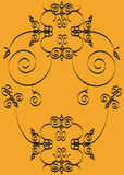 Floral motive. Hand drawn floral motive on orange background Royalty Free Illustration