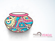 Floral mud pot for Happy Pongal celebration. Royalty Free Stock Photo