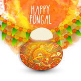 Floral mud pot for Pongal celebration. Colourful floral mud pot, full of rice on mango leaves and flowers decorated background for South Indian harvesting Vector Illustration