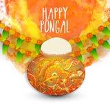 Floral mud pot for Pongal celebration. Stock Photos