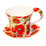 Floral mug. Red floral mug isolated included clipping path Stock Photos
