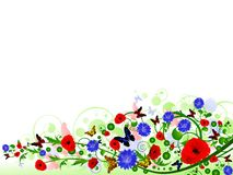 Floral multicolored summer frame Stock Photo