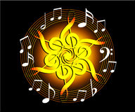 Floral music. Coloured Floral Music symbol, round lined music notes with black background- computer generated vector illustration