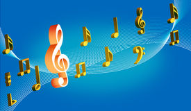 Floral music. Coloured Music symbol on white lined music notes with blue background- computer generated Royalty Free Stock Images