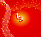 Floral music. Coloured Music symbol on white and yellow lined music notes with red coloured background- computer generated stock illustration
