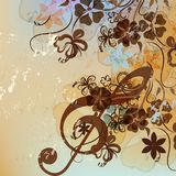 Floral music background with treble clef Stock Photos