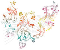 Floral Music Notes Royalty Free Stock Photos