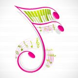Floral Musical Note. Vector illustration of colorful floral musical note stock illustration