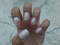 Floral nail art. Nails by princess Royalty Free Stock Image