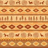 Aztec seamless pattern with animals silhouette. Tribal geometric Royalty Free Stock Photo