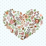 Floral nature heart vector illustration. Hand draw Stock Images
