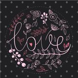 Floral nature love sign with hand drawn elements Royalty Free Stock Photo